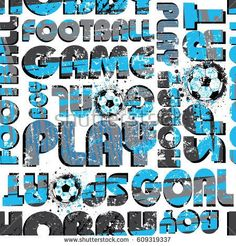 Sports football pattern. Abstract soccer geometric pattern with words, for textiles, clothes, paper, web.