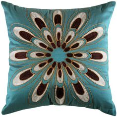Patterned teal pillow