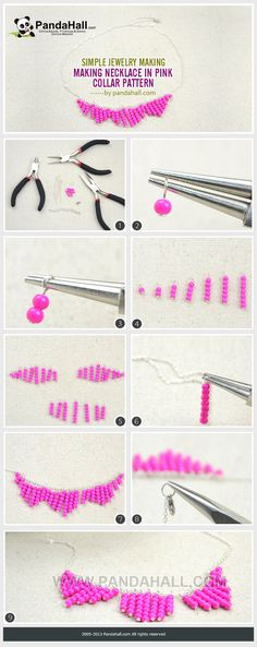 Simple Jewelry Making - Make a Necklace in a Pink Collar Pattern from pandahall.com