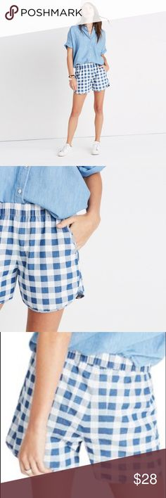 """Madewell pull-on shorts in gingham check NWT Our favorite pull-on shorts in timeless indigo checks. Super-comfortable and cool, they swap in effortlessly for a pair of cutoffs. True to size. 3 1/2"""" inseam. Cotton. Machine wash. Import. Madewell Shorts"""