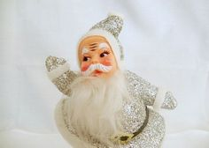 vintage Santa figurine, Santa Claus, 7 inches, white and silver, made in Hong Kong, Fifties Christmas decoration