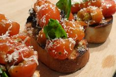 Bruschetta with Smashed Cherry Tomatoes & Olives