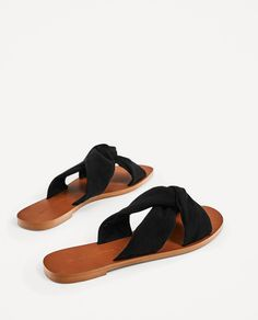 LEATHER SLIDES WITH KNOT DETAIL-NEW IN-WOMAN | ZARA Canada