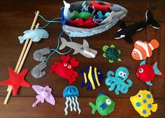 Magnetic fishing game. Under the sea party favors. Sea animals, fish, whale, dolphin turtle shark mermaid crab boat rods on