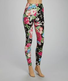 This Black & Fuchsia Floral Leggings is perfect! #zulilyfinds