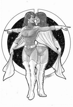 Duo Damsel (Legion of Super-Heroes) sketch by George Perez Comic Book Heroines, Dc Comics Characters, Comic Book Artists, Comic Books Art, Comic Art, Drawing Superheroes, Legion Of Superheroes, George Perez, Drawing Sketches