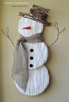 Make a cute Yarn Snowman Tutorial on madeinaday.com