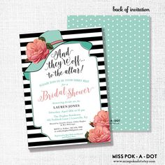 Kentucky Derby bridal shower invitation - they're off to the altar big hat brunch wedding shower - Coral and Aqua