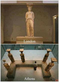 every time I go to the national acropolis museum in the capital of my country,Athens ,and I'm standing in front of statues of the Caryatids fell a little bad, you know, because they had to be six and there are only five . British Museum, Greek History, Ancient History, Greek Culture, Parthenon, Ancient Greece, Best Funny Pictures, Archaeology, Les Oeuvres