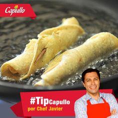 #TipdeCocina, el Chef Javier y Capullo te recomiendan  que todo producto a freír en aceite debe de estar lo más seco posible, el agua y el aceite caliente, no son compatibles.