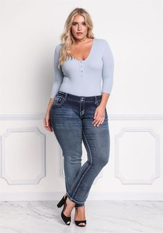 Plus Size Clothing | Plus Size Mid Rise Bootcut Jeans | Debshops