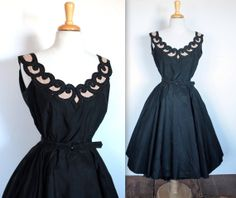 Vintage 1950's Black Taffetta Party Dress with by TrueValueVintage, $225.00. The neckline is perfect.