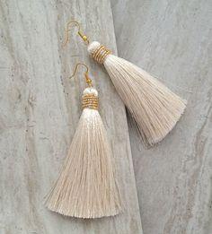 beaded cream tassel earrings