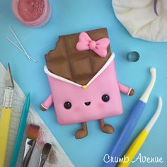 Cute Chocolate Bar - fondant, gum paste, cake topper, kawaii, idea, inspiration, clay