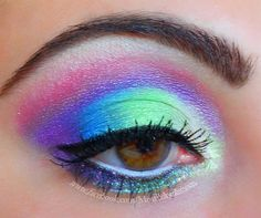 Most Babealicious Makeup.  Psychedelic Rain Forest makeup eyeshadow look. colorful, bright. sugarpill cosmetics. Tropical Www.facebook.com/mostbabealicious