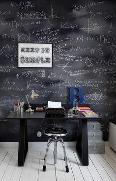 blackboard wallpaper - study - schoolbord behang - werkplek