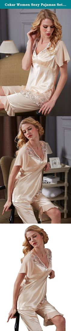 Cokar Women Sexy Pajamas Set Shorts Lightweight Enchanting Satin 2 Piece Sleepwear. Finest Soft Fabric: Selection of the finest fabric, this Nightdress Pajamas offers a smooth and ultra-soft feeling for you. It is extremely light weight and comfort, touches your skin as gentle as a feather. Elegant Sexy Alluring Design : This beautiful handmade sleepwear in attractive colors expresses love, fascination, and temptation. It is an idea gift that you cannot miss. Customer service: Send us an...