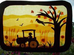 Kinderzimmerdekoration - Waldorf Transparentbild Herbst,Jahreszeitentisch - ein…