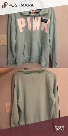 pink VS sweatshirt light blue Great condition! Hardly worn! PINK Victoria's Secret Tops Sweatshirts & Hoodies