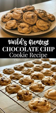 This Worlds Greatest Chocolate Chip Cookie. This Worlds Greatest Chocolate Chip Cookie recipe is easy to make and creates soft and chewy chocolate chip cookies every time! Can be made ahead of time. Homemade Chocolate Chip Cookies, Perfect Chocolate Chip Cookies, Chocolate Recipes, Baking Chocolate, Chocolate Chocolate, Cookies Without Brown Sugar, Chocolate Chip Frappe, Mrs Fields Chocolate Chip Cookies, Chocolate Chip Biscuits