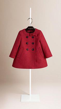Camaieu rose cerise vif Manteau en laine vierge et cachemire avec nœud - Image 1