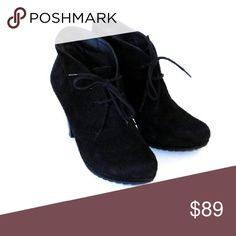 PAUL GREEN BLACK SUEDE LEATHER LACE UP BOOTIES Classic and elegant these ankle boots are characterized with exceptional quality and comfort.Lace up, Ankle , Heels approx.3 1/2 in high , Pump platform, Genuine leather,Made in Austria. PAUL GREEN  Shoes Ankle Boots & Booties