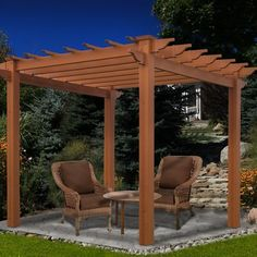 The traditional design, style and quality New England Arbors is known for have been poured into the Lakewood Vinyl Pergola. The texture and colour of this pergola offer a classic wooden cedar look, making it at home in any natural setting. Vinyl Pergola, Cedar Pergola, Steel Pergola, Pergola Canopy, Pergola With Roof, Covered Pergola, Wooden Pergola, Backyard Pergola, Pergola Shade