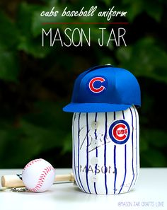 Baseball Uniform Mason Jar