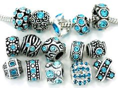 Ten (10) of Assorted Birthstone March Aquamarine Lt Bluecrystal Rhinestone Beads (Styles You Will Receive Are Shown in Pic... $15.95 #topseller