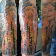 Forest Trees Flaming Guys Tattoos Sleeve Mountain Sleeve Tattoo, Half Sleeve Tattoos Forearm, Wildland Firefighter, Traditional Tattoo Design, Tattoo Sleeve Designs, Back Tattoo, Tattoos For Guys, Fighter Tattoos, Body Art
