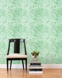 Lina Rennell Raindrops Jade Tiles $58 per tile, hyggeandwest.com temporary wallpaper