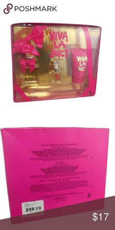 Viva La Juicy 3-pc  Fragrance Set Viva La Juicy 3-pc  Fragrance Set  Viva La Juicy perfume is a feminine yet refreshing scent that is filled with gourmand, fruity, and floral fragrance notes. Because of its fashionable designers, Viva La Juicy perfume is just the scent for trendy women. With top notes of juicy mandarin and wild berries, it is not hard to discover where the inspiration for the name of the Juicy Couture Viva La Juicy perfume came from. Juicy Couture Other