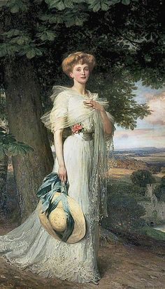 Sir Frank Dicksee - Portrait of Joan Marion Pratt, Marchioness Camden, Wife of the Marquess, Frank Dicksee, Portraits, Portrait Art, Your Paintings, Beautiful Paintings, Belle Epoque, Edwardian Fashion, Edwardian Era, Ciel Rose