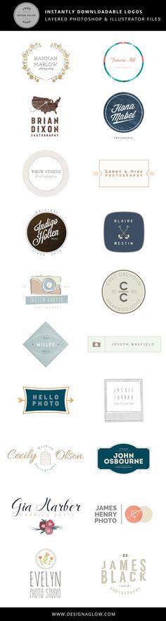Logos for Photographers   Fully customizable Photoshop and Illustrator files! #designaglow