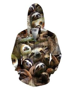 4900be661 Details about Unisex Zip Up Hoodie With Sloth Cute Pet Funny Animal Pocket  Print