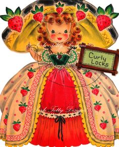 Curly Locks 1940s Vintage Digital Download by poshtottydesignz, $2.50