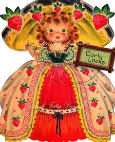 Curly Locks 1940s Vintage Digital Download by poshtottydesignz, $2.50