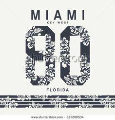 Miami flowers sport typography, t-shirt graphics, vectors, surf