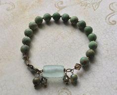 Rainforest Jasper Recycled Glass Bracelet Sacred by SacredArtwear