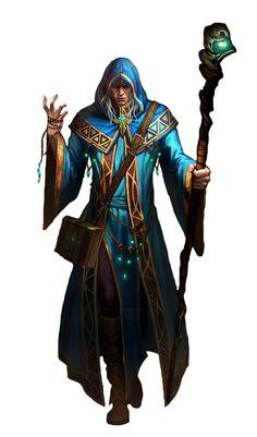 Human Male Blue Wizard - Pathfinder PFRPG DND D&D d20 fantasy