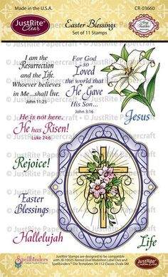 "JustRite Papercraft Easter Blessings - 4"" x 6"" Clear Stamps Set designed by Amy Tedder"