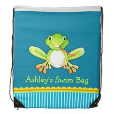 Kids sports swim blue frog named drawstring bag. Art and design by www.sarahtrett.com