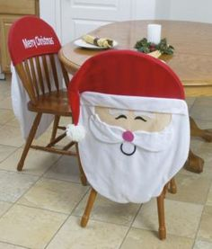 $15 Merry Christmas Santa Chair Covers - Set of 2 Merry Christmas Santa, Christmas Things, Christmas Time, Christmas Articles, Christmas Sewing, Chair Covers, Place Settings, Xmas Decorations, Holiday Crafts