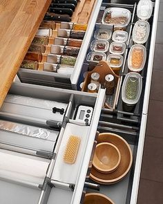 Kitchen organization ideas should be applied in your kitchen to add function and also add aesthetic in your kitchen. As we know kitchen becomes one of the busiest rooms in your home. Organization Station, Kitchen Organization, Kitchen Storage, Organized Kitchen, Organization Ideas, Ikea Kitchen Drawers, Kitchen Furniture, Kitchen Decor, Glass Containers