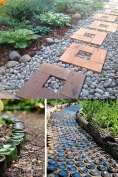 25 Most Beautiful DIY Garden Path Ideas - 25 beautiful garden path ideas & pro landscape design tips on easy DIY backyard walkways with grave - Garden Steps, Diy Garden, Garden Paths, Backyard Walkway, Backyard Landscaping, Landscaping Ideas, Backyard Ideas, Patio, Mulch Ideas