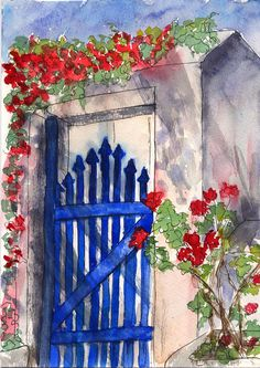 Blue Gate - watercolor