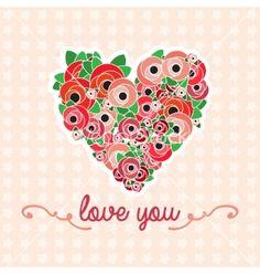 Flower heart vector poppies by Jallom on VectorStock®
