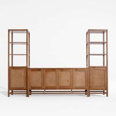 """Blake Grey Wash 68"""" Media Console with 2 Tall Cabinets + Reviews 
