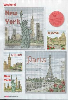 Cross Stitch Crazy 181 (October 2013) - Take a Break - London, Paris, Rome & New York 3/4