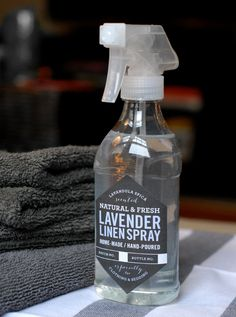 DIY lavender linen spray with label printable   1-12 oz. Spray Bottle (Container Store1.99 each)  8.5×11″ adhesive paper (local office supply stores)  Free downloadable label PDF  Scissors / Exacto Knife  Ruler  Pen  1/2 tsp. lavender essential oil  1/8 cup unflavored vodka  1 3/4 cups filtered water